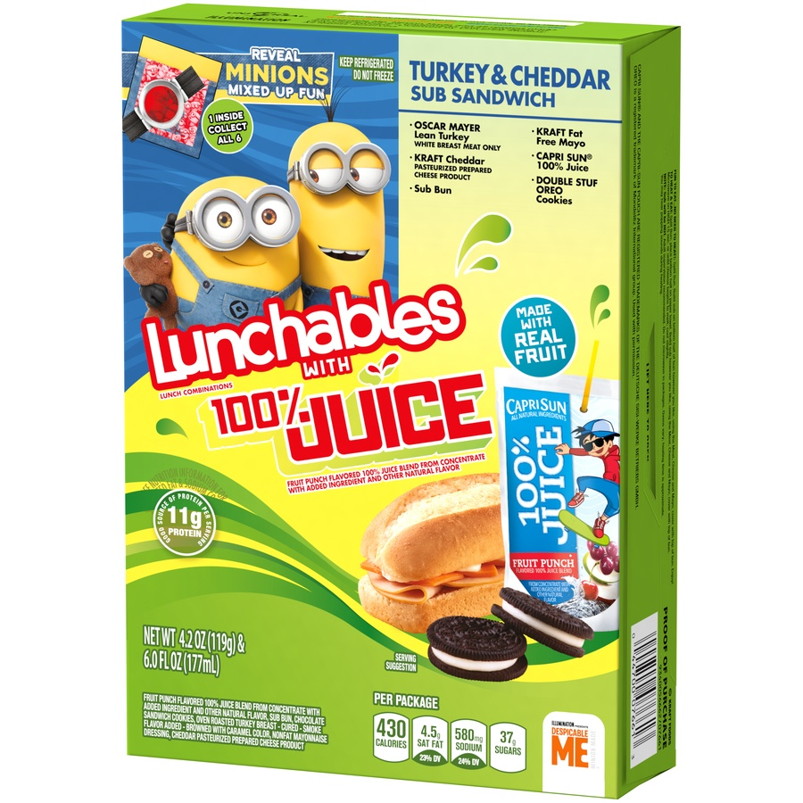 slide 4 of 8, Lunchables 100% Juice Turkey & Cheddar Sub Sandwich,