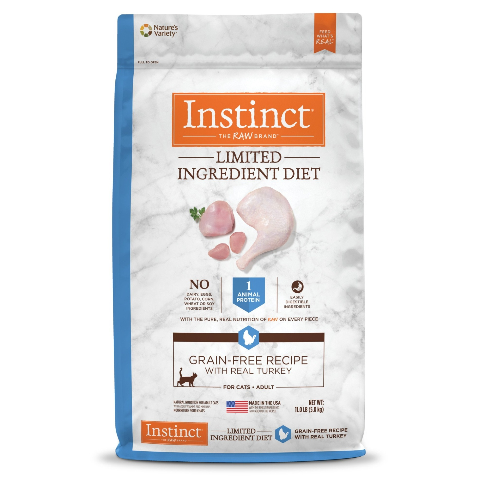 slide 1 of 1, Nature's Variety Instinct Limited Ingredient Diet Grain Free Recipe with Real Turkey Natural Dry Cat Food,