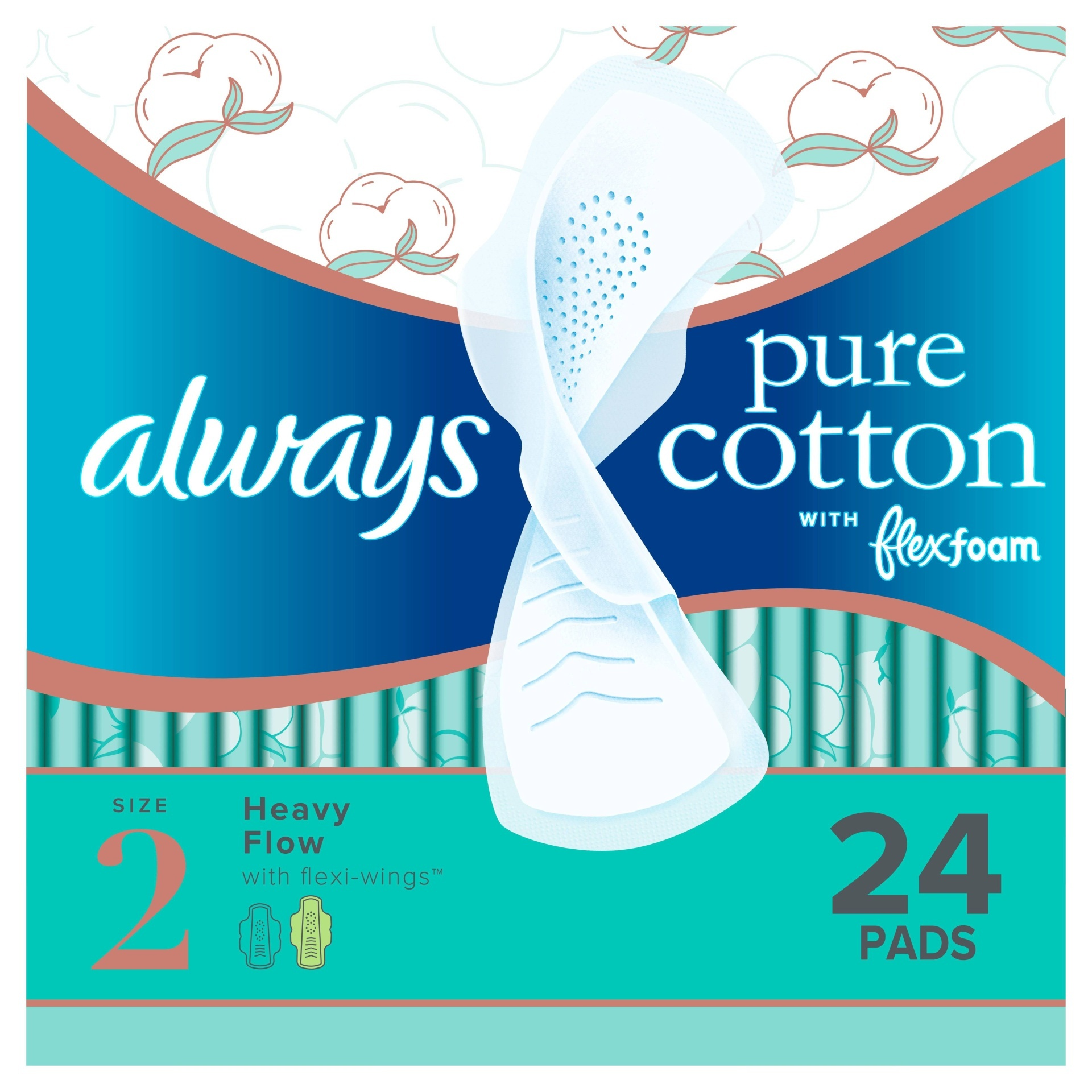 slide 1 of 4, Always Pure Cotton Heavy Flow With Flexi-Wings Pads,