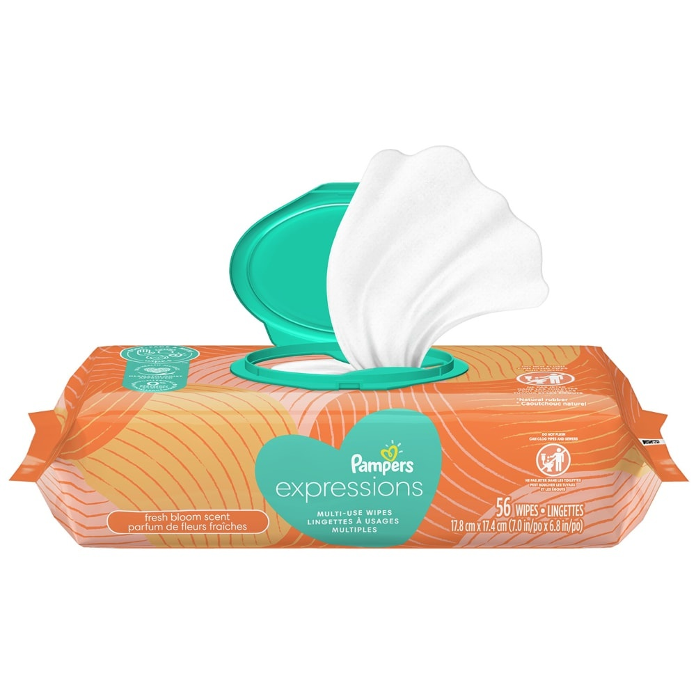 slide 1 of 5, Pampers Expressions Fresh Bloom Baby Wipes,