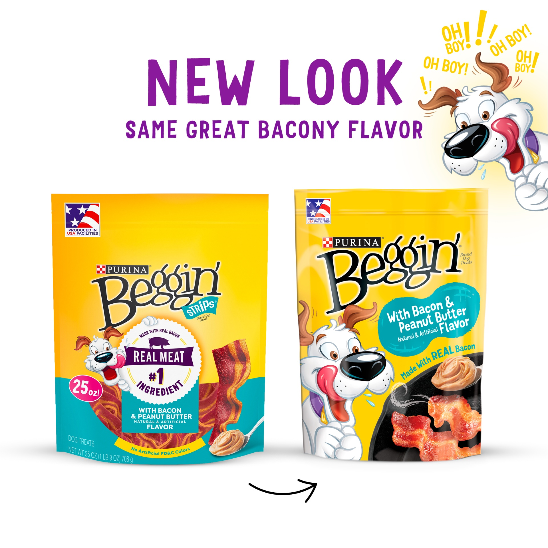 slide 2 of 6, Purina Beggin' Strips Bacon & Peanut Butter Flavors Dog Snacks,