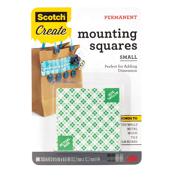 slide 1 of 8, Scotch Mounting Squares, White,