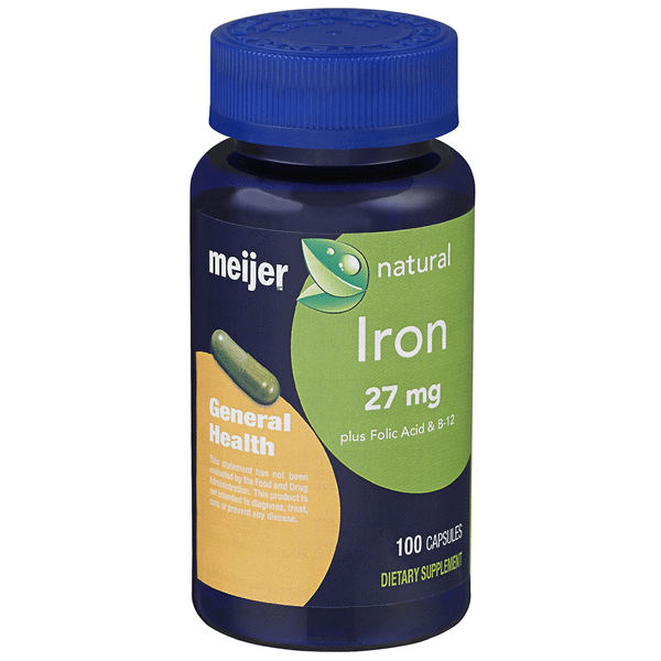 slide 1 of 3, Meijer Natural Iron 27mg Capsule,