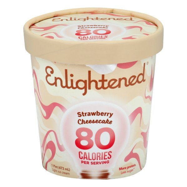 slide 1 of 1, Enlightened Low Fat Ice Cream Strawberry Cheesecake,