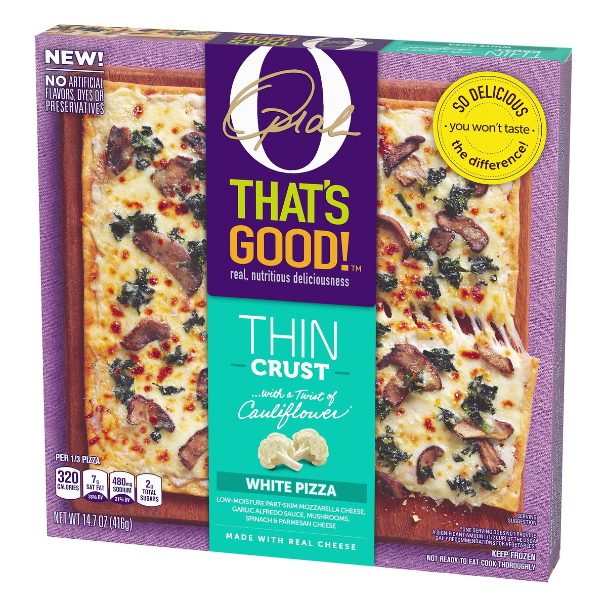 slide 3 of 10, O, That's Good! O That's Good Frozen Thin Crust White Pizza,