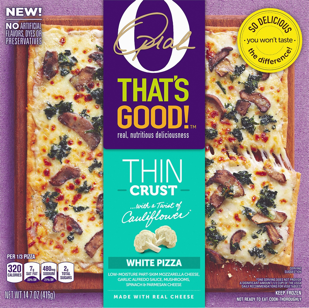 slide 9 of 10, O, That's Good! O That's Good Frozen Thin Crust White Pizza,