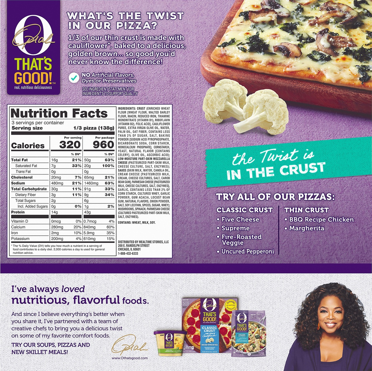 slide 10 of 10, O, That's Good! O That's Good Frozen Thin Crust White Pizza,
