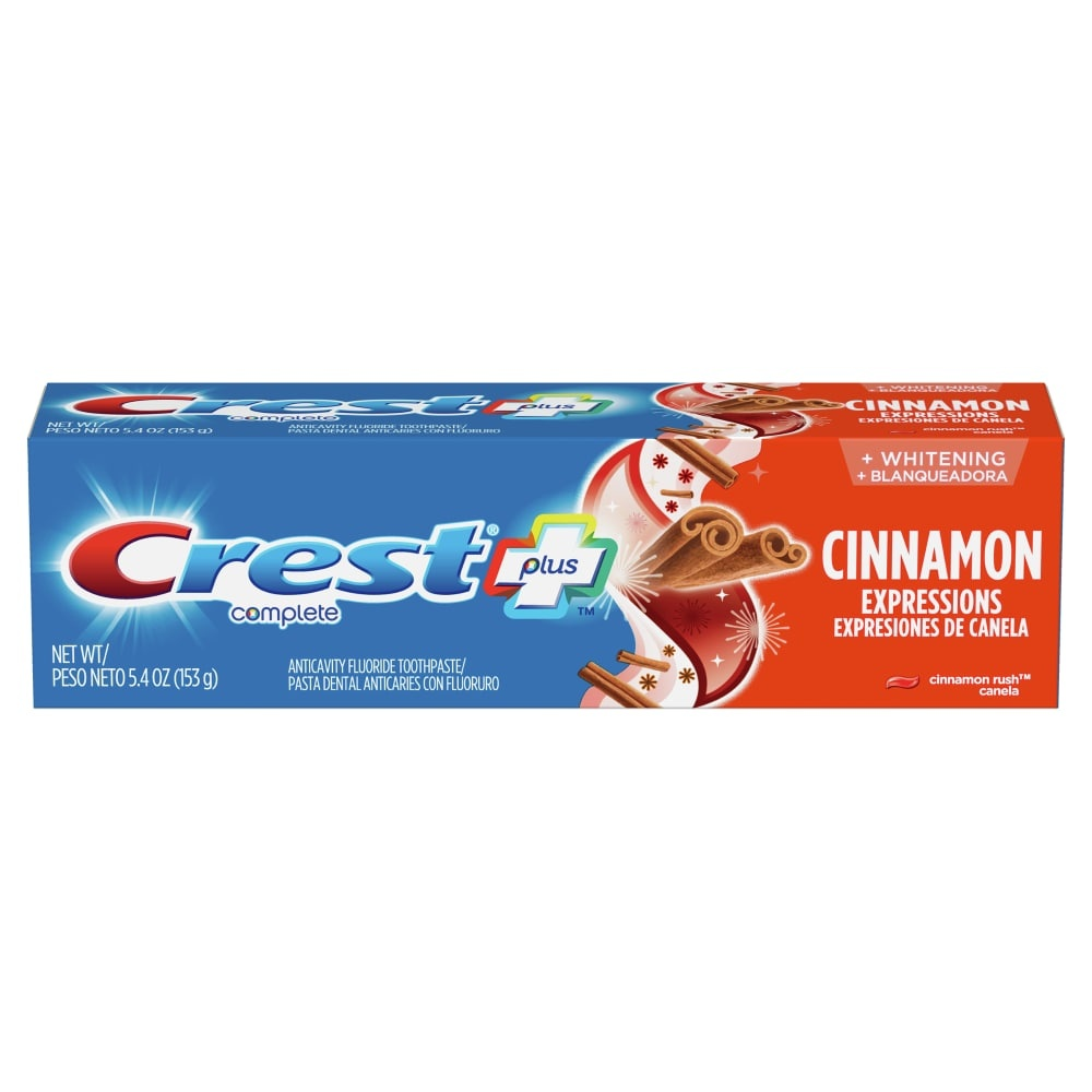 slide 1 of 1, Crest Plus Complete Whitening Cinnamon Rush Anticavity Fluoride Toothpaste,