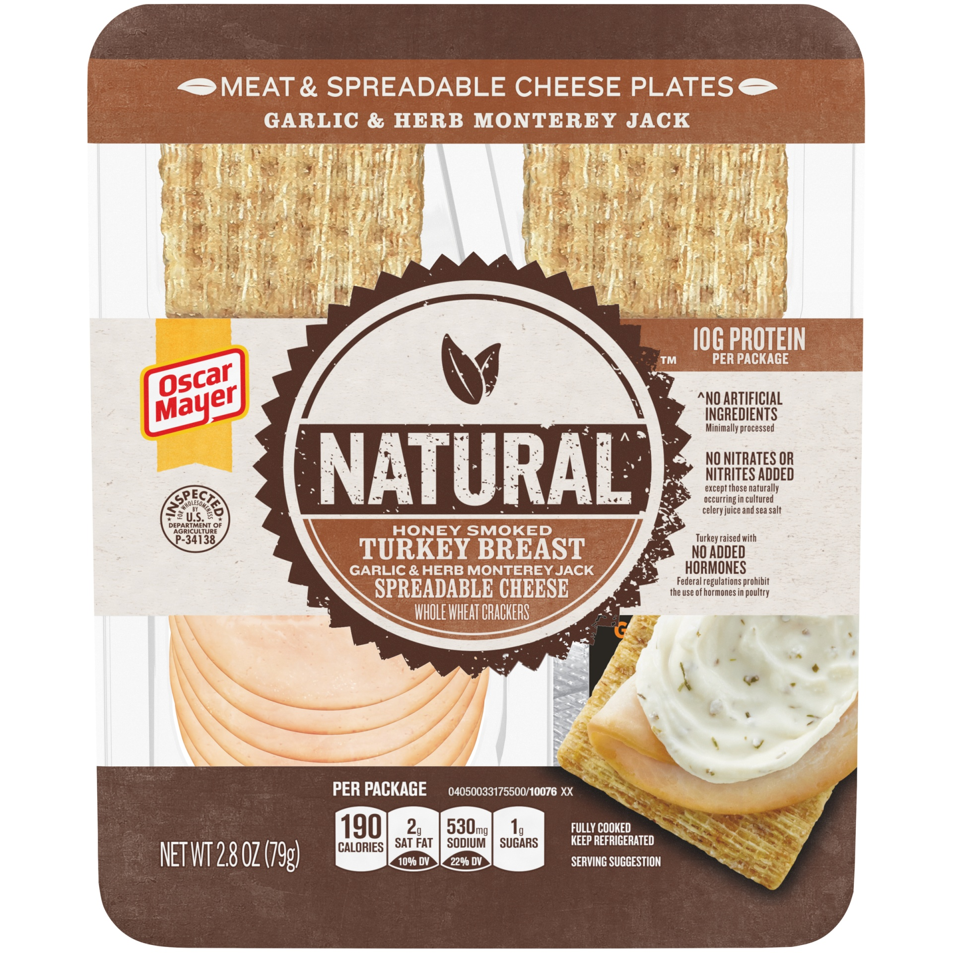 slide 1 of 6, Oscar Mayer Natural Garlic & Herb Monterey Jack Meat & Spreadable Cheese Plates,