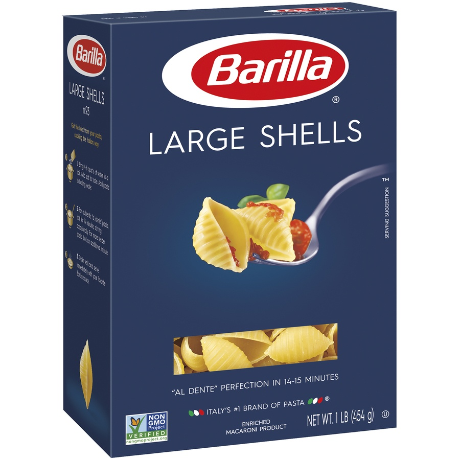 slide 2 of 8, Barilla Large Shell Pasta,