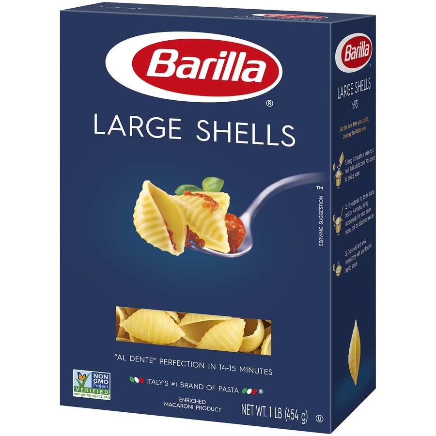 slide 3 of 8, Barilla Large Shell Pasta,