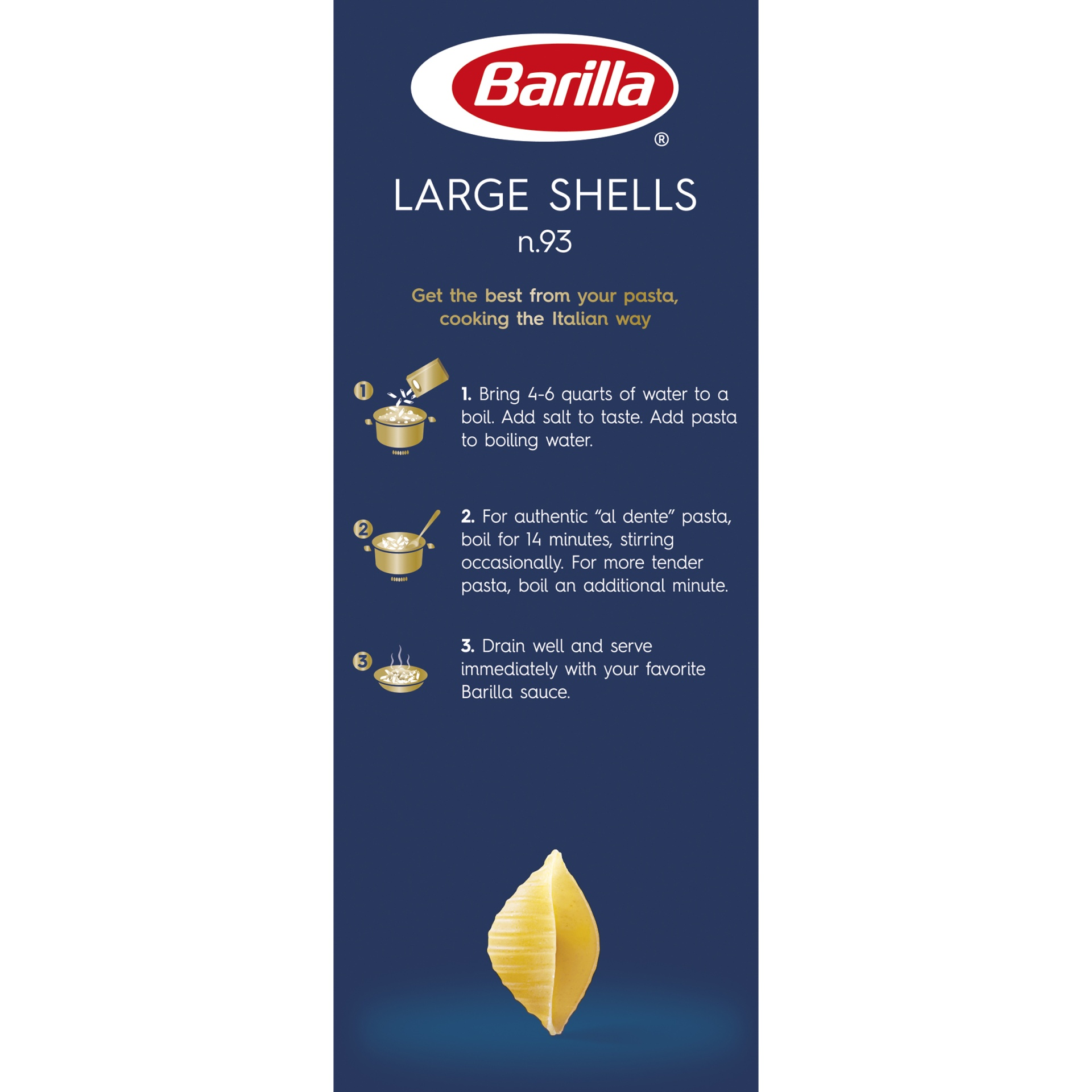 slide 4 of 8, Barilla Large Shell Pasta,