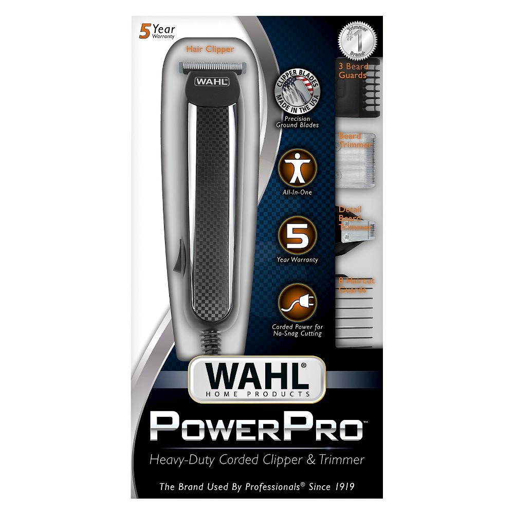slide 6 of 7, Wahl Power Pro Corded Men's Multi Purpose Trimmer with 3 Replaceable Trimmer Heads - 9686,
