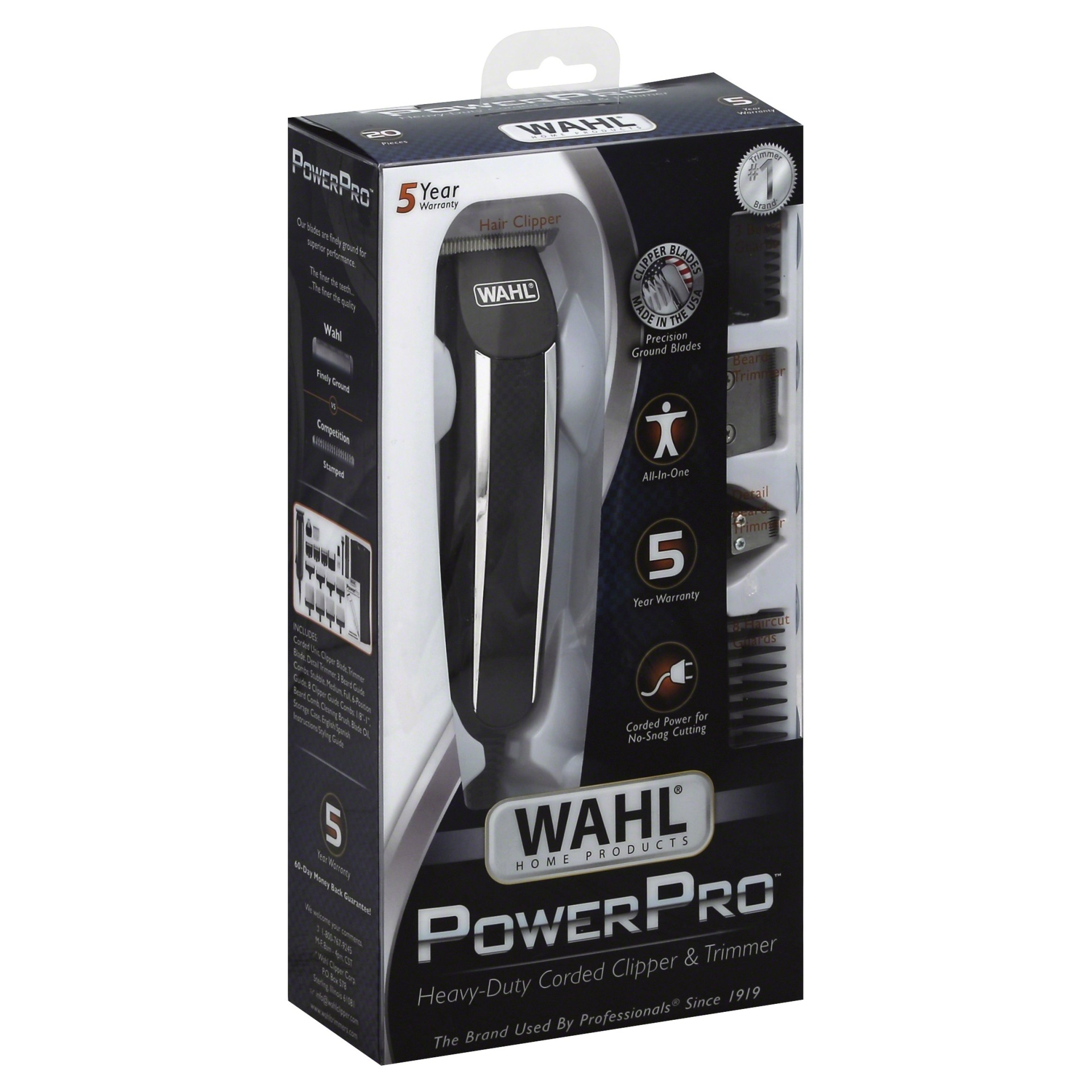 slide 1 of 7, Wahl Power Pro Corded Men's Multi Purpose Trimmer with 3 Replaceable Trimmer Heads - 9686,