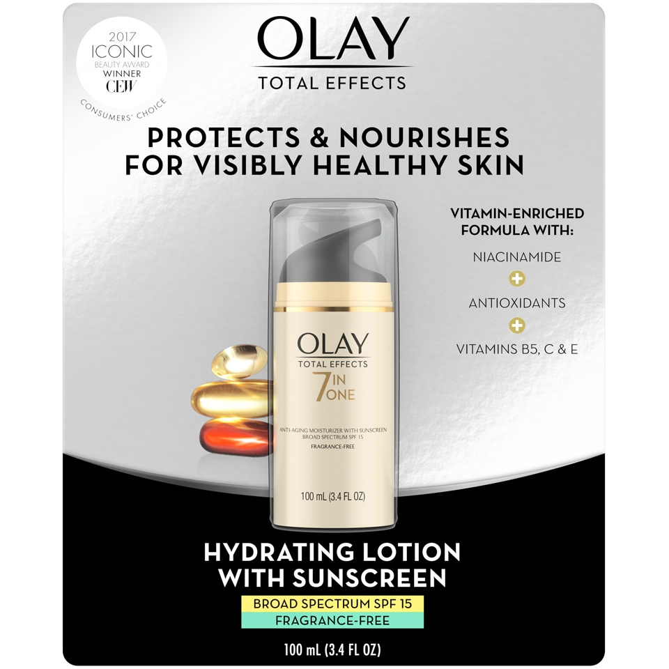 slide 2 of 4, Olay Total Effects 7-in-1 Anti-Aging Moisturizer with Broad Spectrum SPF 15 Sunscreen,