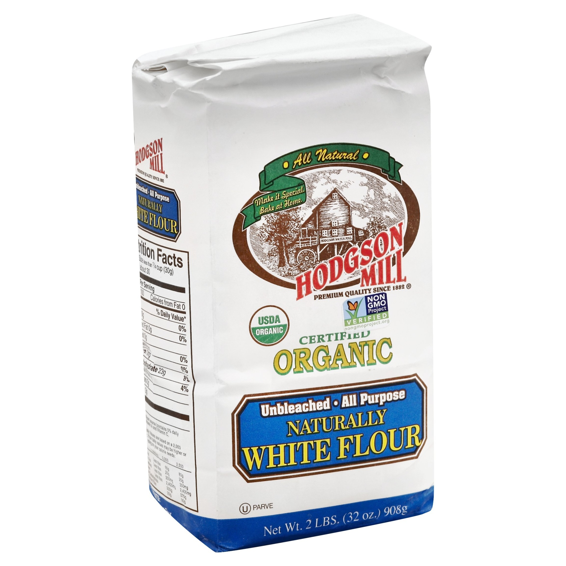 slide 1 of 1, Hodgson Mill Organic Unbleached All Purpose White Flour,