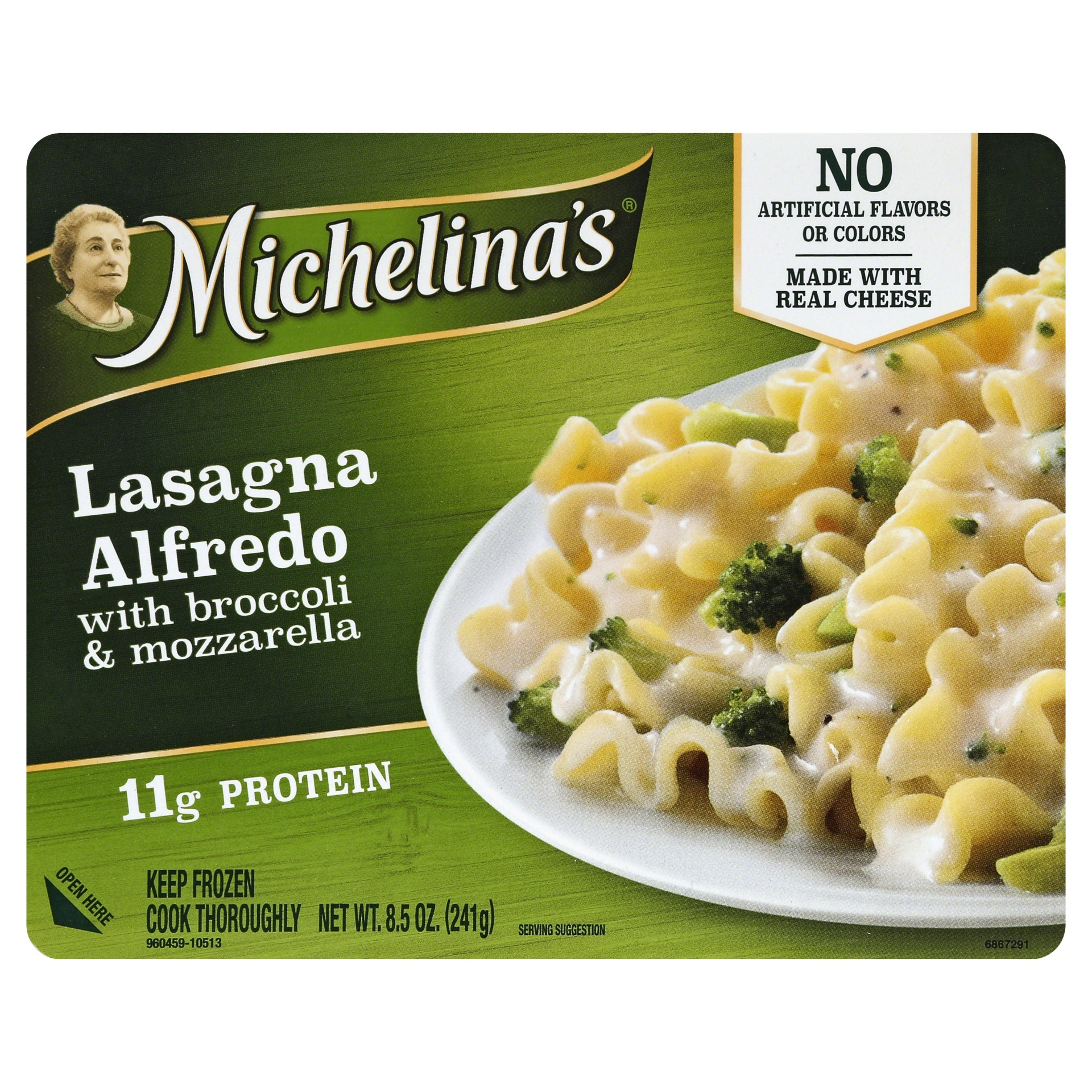 slide 1 of 6, Michelina's Lasagna Alfredo With Broccoli Mozzarella,