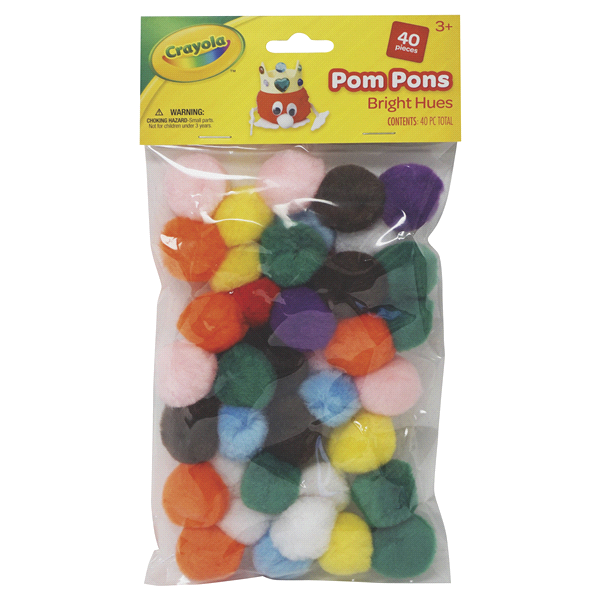 slide 1 of 1, Crayola Pom Pons Bright Hues,