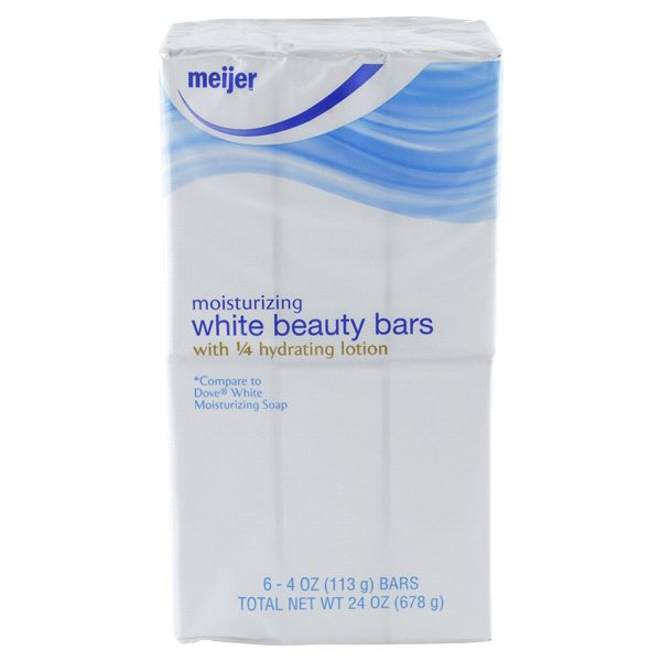 slide 1 of 4, Meijer Moisturizing White Beauty Bar Soap,