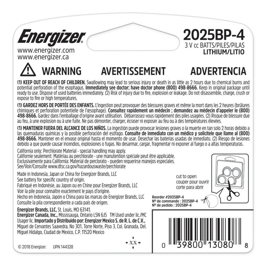 slide 2 of 2, Energizer 2025 Lithium Coin Batteries,