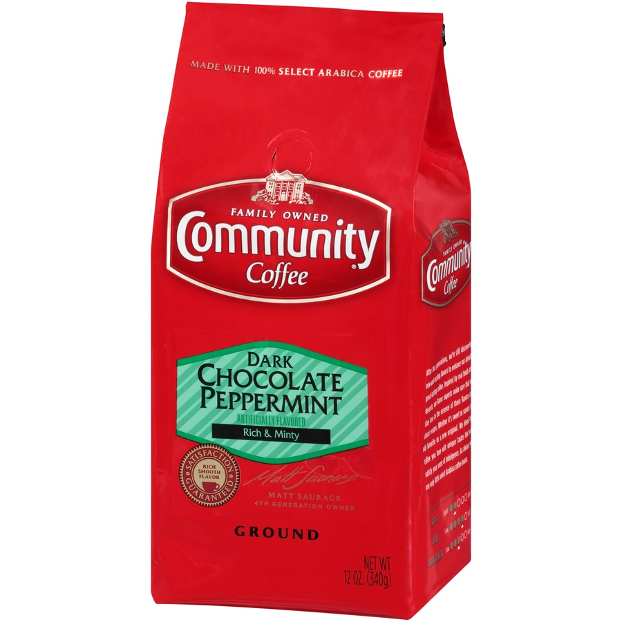slide 3 of 7, Community Coffee Dark Chocolate Peppermint Ground Coffee,