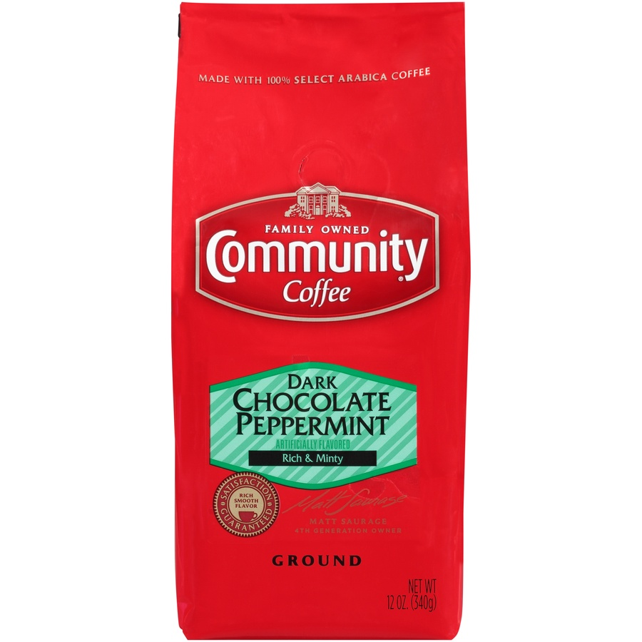 slide 1 of 7, Community Coffee Dark Chocolate Peppermint Ground Coffee,