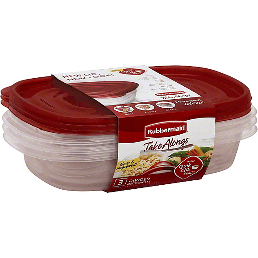 slide 2 of 2, Rubbermaid Takealongs Divided Rectangle Food Storage Container,