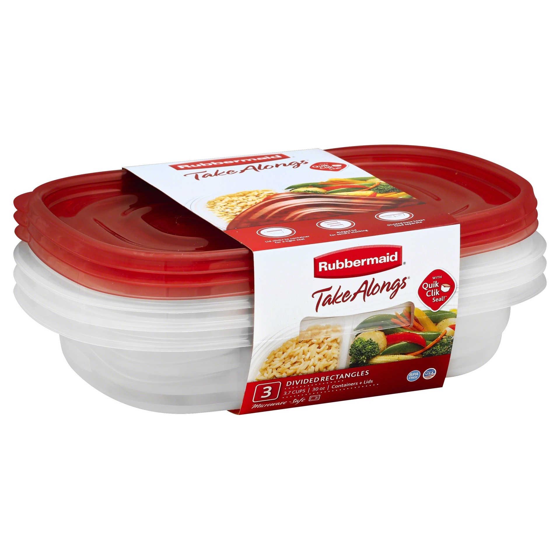 slide 1 of 2, Rubbermaid Takealongs Divided Rectangle Food Storage Container,