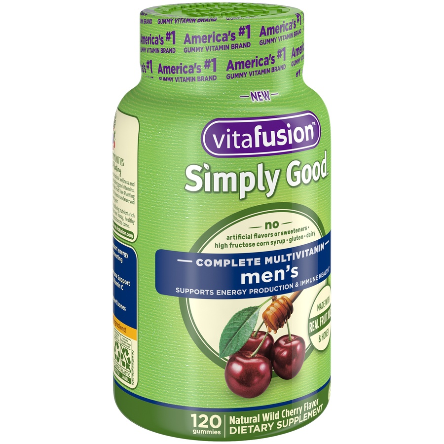 slide 2 of 4, Vitafusion Simply Good Natural Wild Cherry Flavor Men's Complete Gummie Multivitamins,