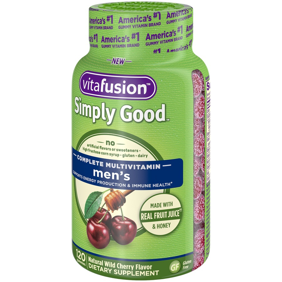 slide 3 of 4, Vitafusion Simply Good Natural Wild Cherry Flavor Men's Complete Gummie Multivitamins,