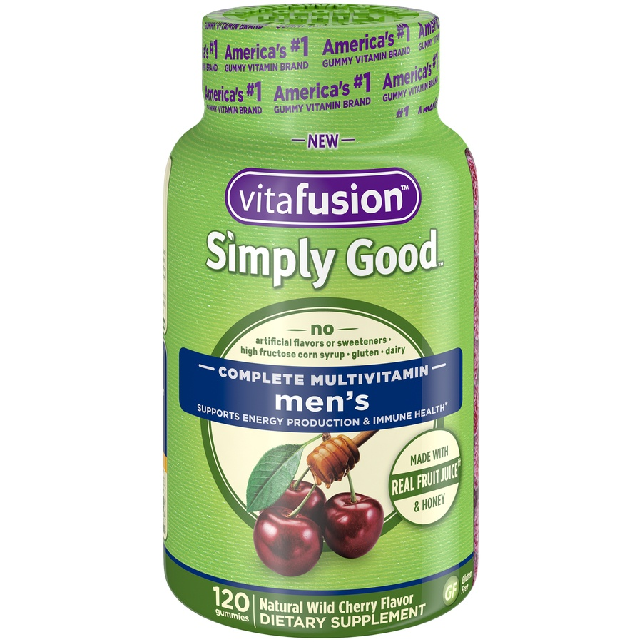 slide 1 of 4, Vitafusion Simply Good Natural Wild Cherry Flavor Men's Complete Gummie Multivitamins,