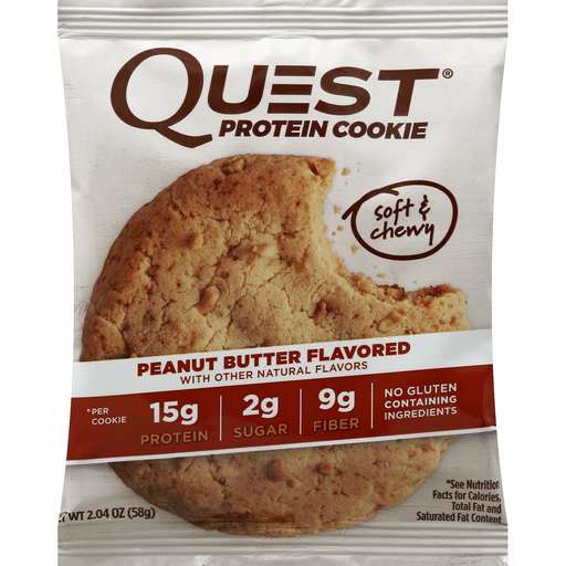 slide 3 of 3, Quest Protein Cookie, Peanut Butter Flavored,