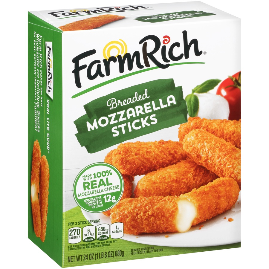 slide 2 of 8, Farm Rich Breaded Mozzarella Sticks,
