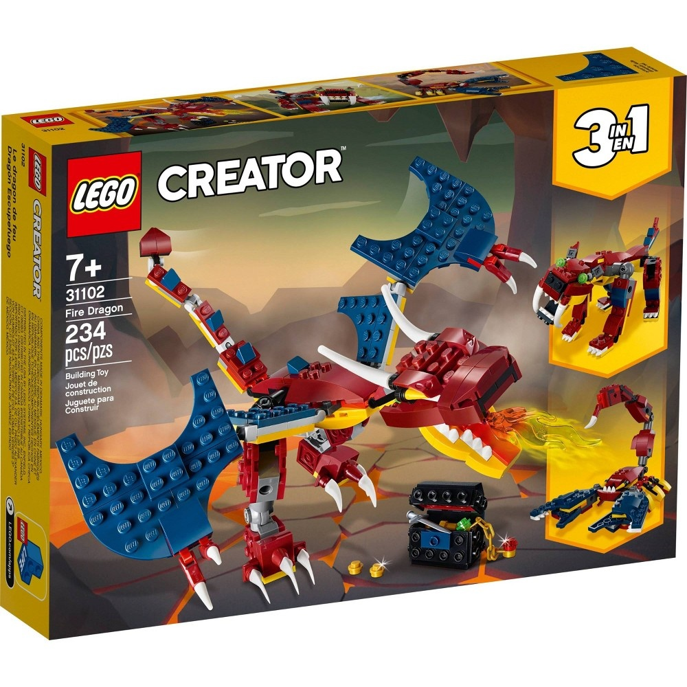 slide 2 of 7, LEGO Creator 3-in-1 Fire dragon 31102 Fearsome Building Kit,