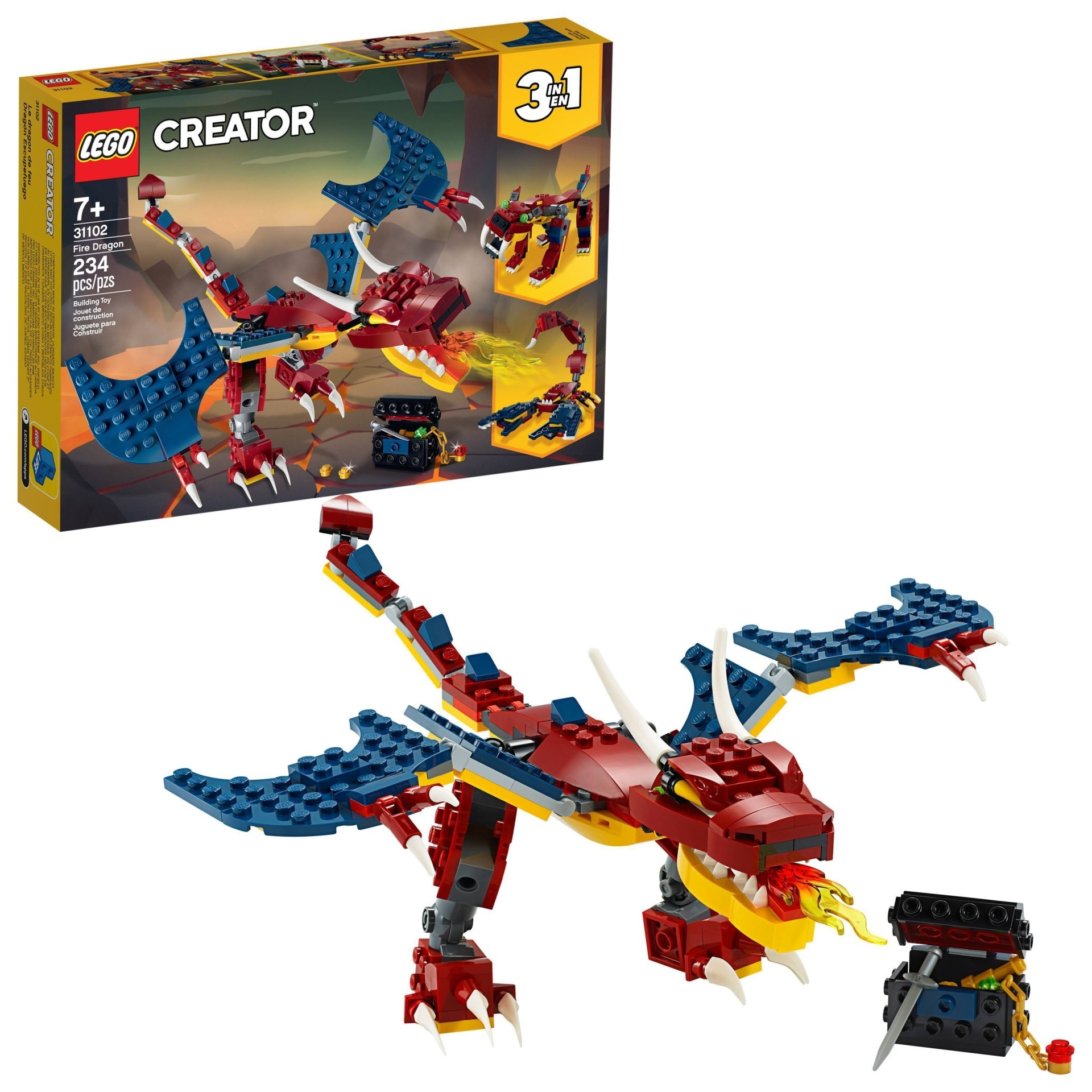 slide 1 of 7, LEGO Creator 3-in-1 Fire dragon 31102 Fearsome Building Kit,
