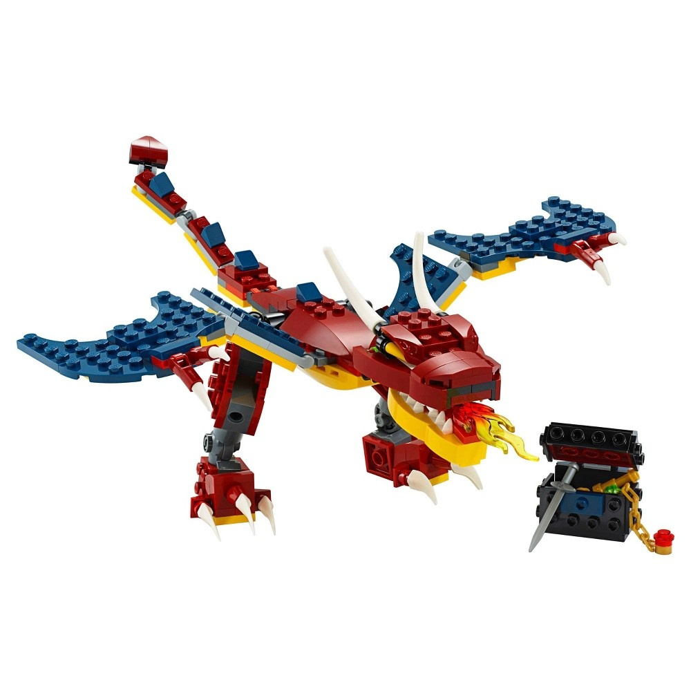slide 4 of 7, LEGO Creator 3-in-1 Fire dragon 31102 Fearsome Building Kit,