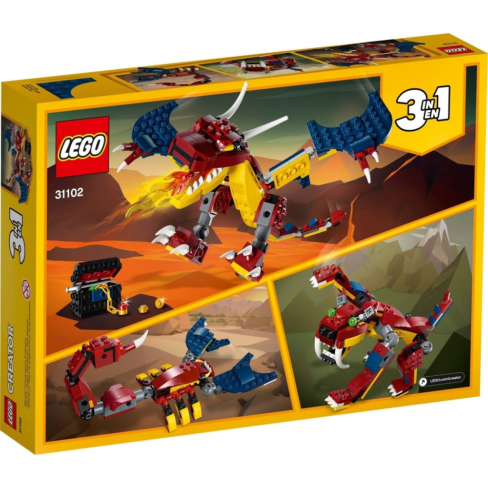 slide 5 of 7, LEGO Creator 3-in-1 Fire dragon 31102 Fearsome Building Kit,