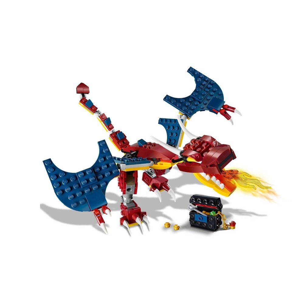 slide 7 of 7, LEGO Creator 3-in-1 Fire dragon 31102 Fearsome Building Kit,