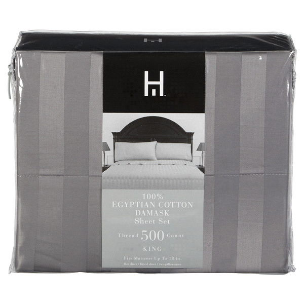 slide 1 of 2, Home Damask 500TC Egyptian Cotton Sheet Set, King, Frost Grey,