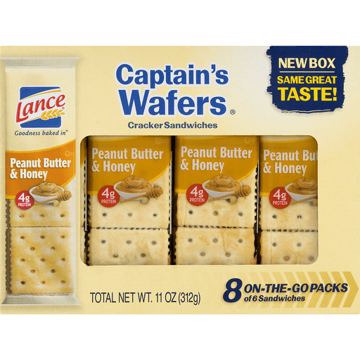 slide 6 of 10, Lance Captain's Wafers Peanut Butter & Honey Sandwich Crackers,