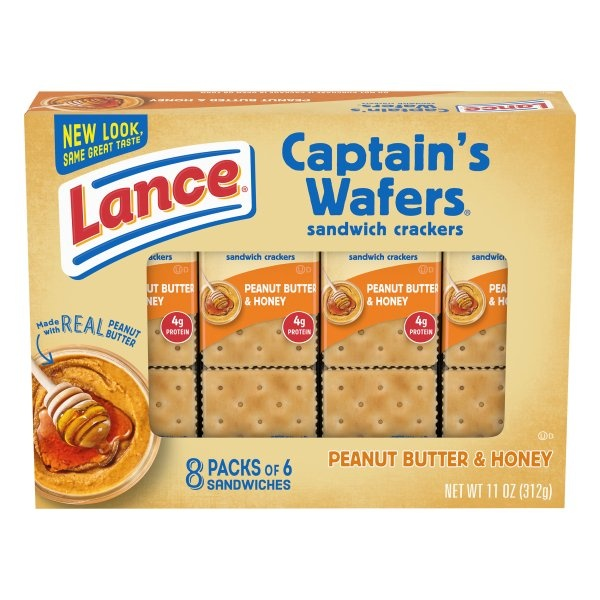 slide 1 of 10, Lance Captain's Wafers Peanut Butter & Honey Sandwich Crackers,