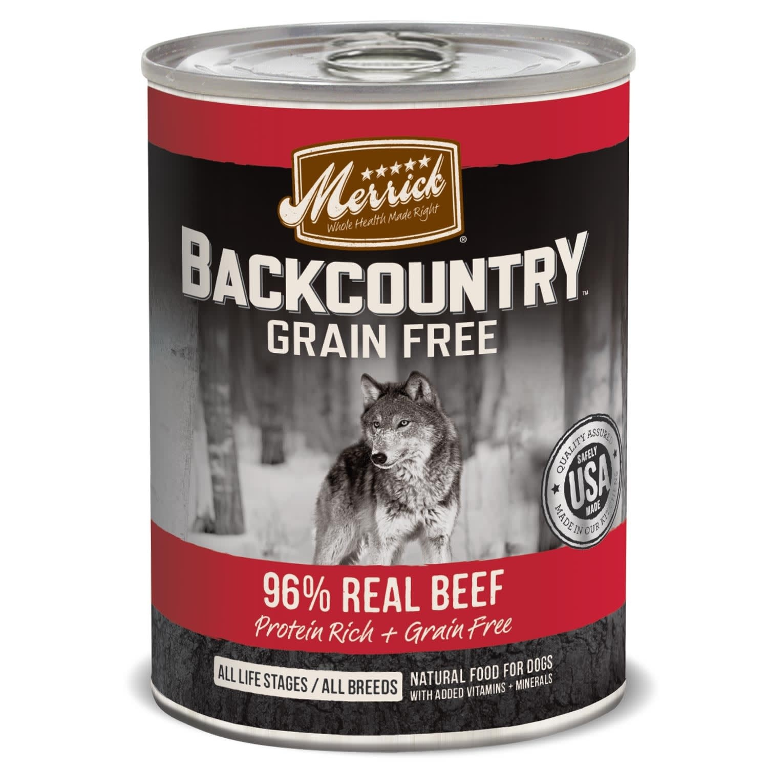 slide 1 of 1, Merrick Backcountry Grain Free 96% Real Beef Canned Dog Food,