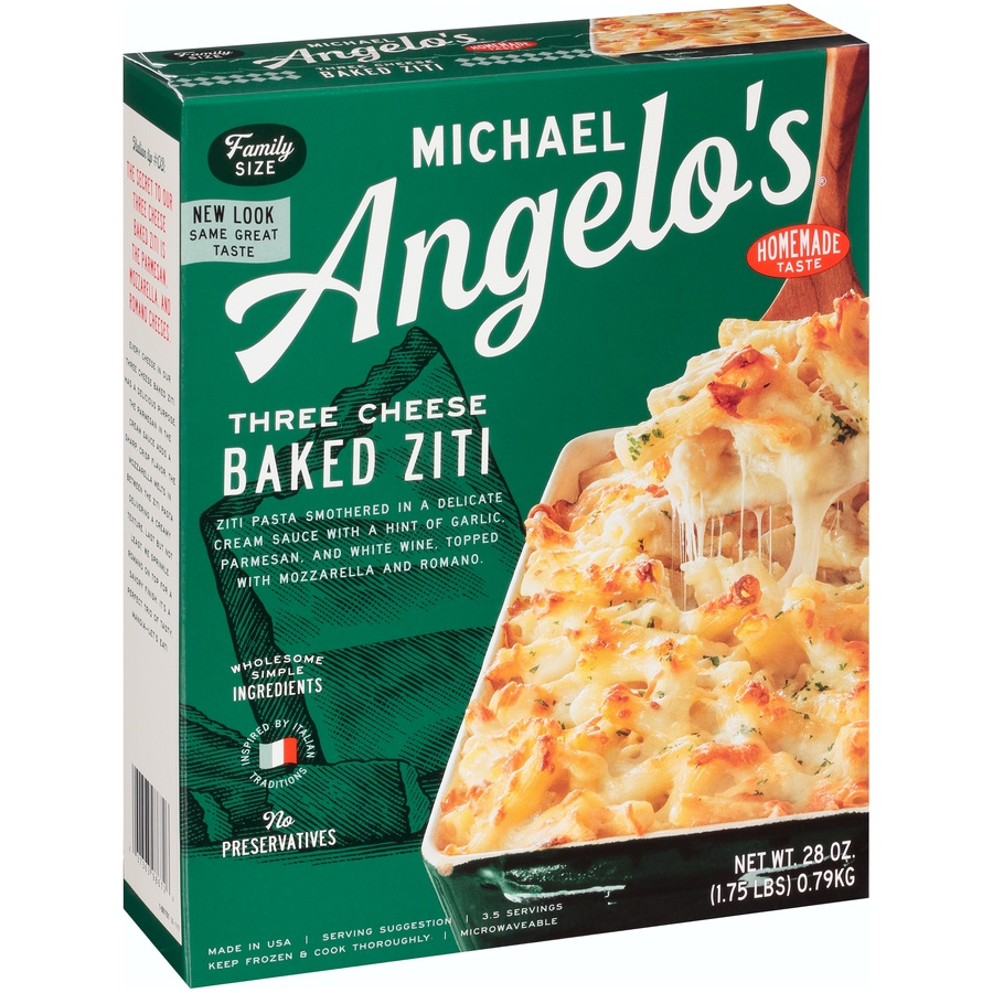 slide 2 of 8, Michael Angelo's Family Size Three Cheese Baked Ziti,
