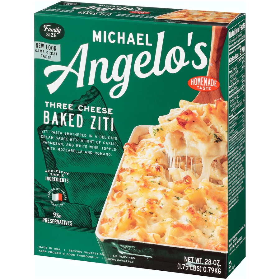 slide 3 of 8, Michael Angelo's Family Size Three Cheese Baked Ziti,