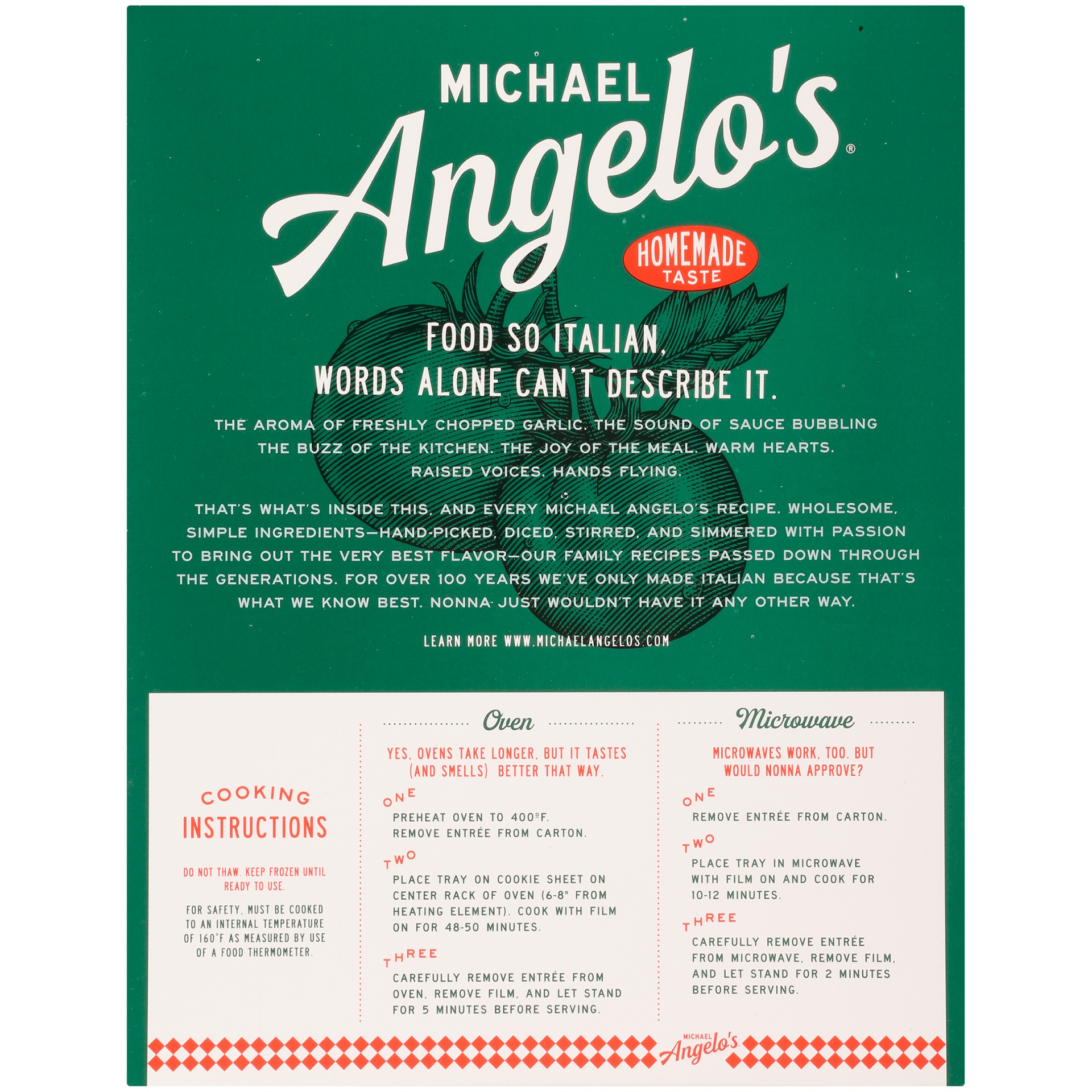 slide 6 of 8, Michael Angelo's Family Size Three Cheese Baked Ziti,