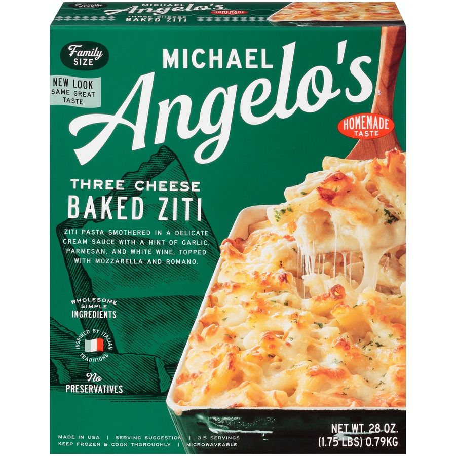 slide 1 of 8, Michael Angelo's Family Size Three Cheese Baked Ziti,