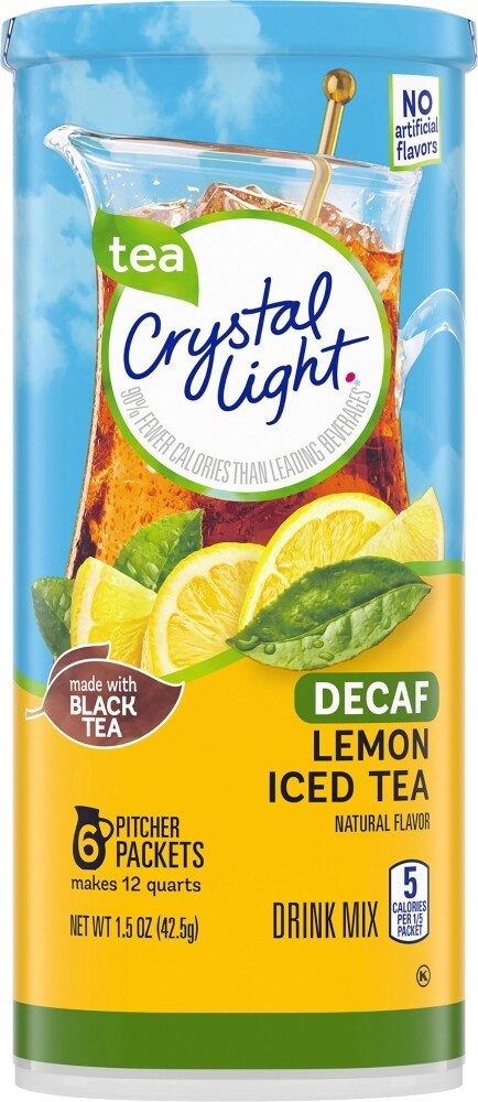 slide 1 of 11, Crystal Light Natural Lemon Decaffeinated Iced Tea Drink Mix,