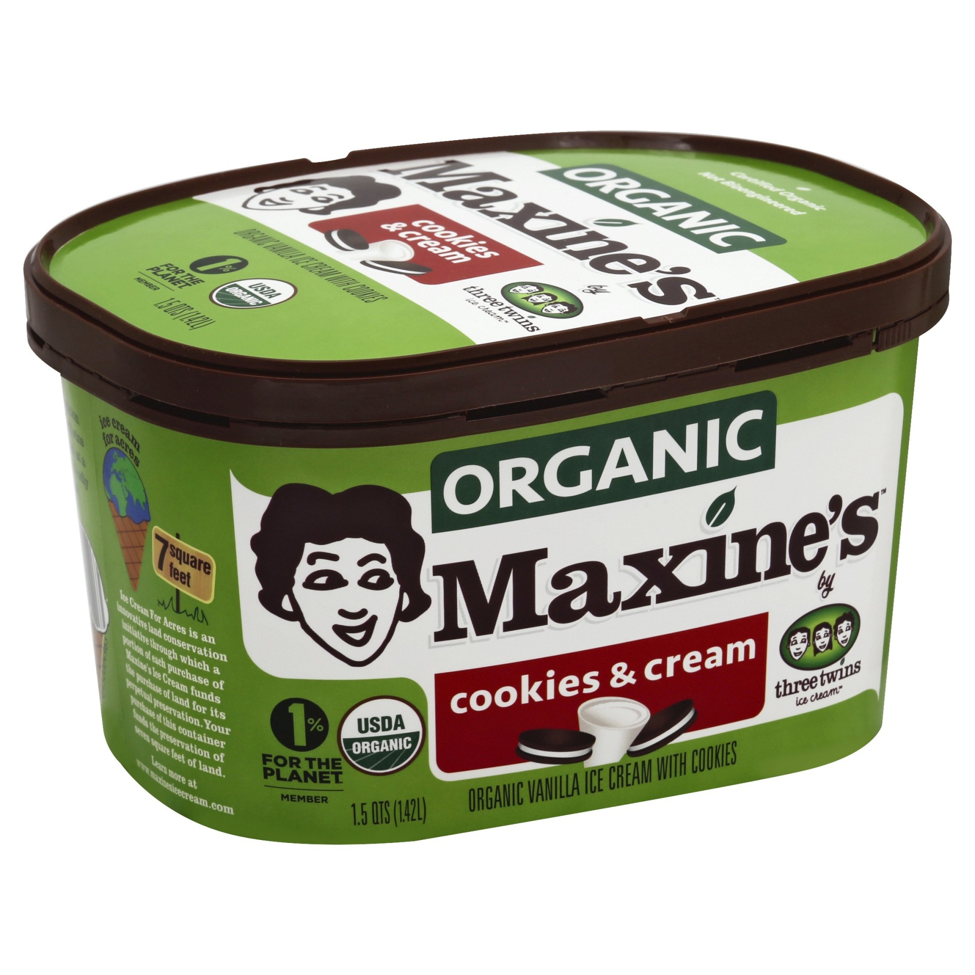 slide 1 of 1, Three Twins Ice Cream Maxine's Organic Cookies & Cream,