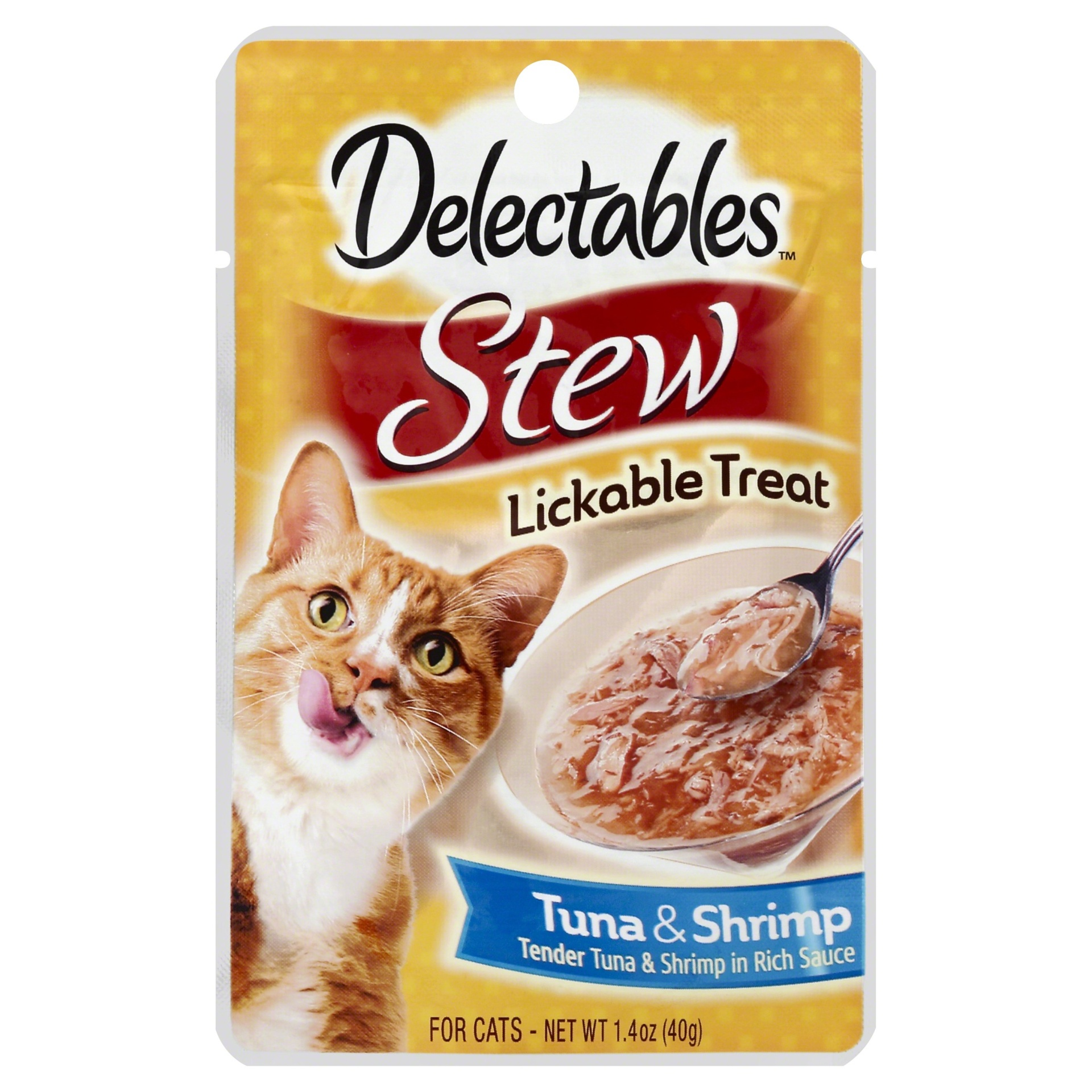 slide 1 of 1, Delectable Stew Lickable Cat Treat, Tuna & Shrimp,