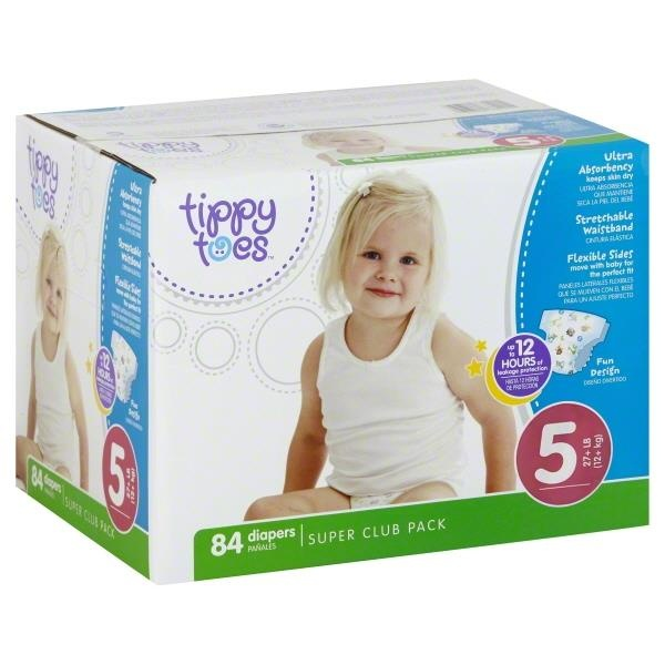 slide 1 of 1, Tippy Toes Babysoft Diapers Size 5,